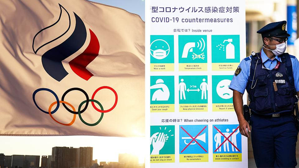 A flag with the Olympic rings (pictured left) on it in Tokyo and (picture right) a security guard next to a Covid-19 sign in the Olympic village.