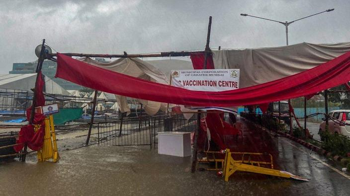 A structure at a vaccination centre in Mumbai city collapsed due to Cyclone Tauktae on 17 May