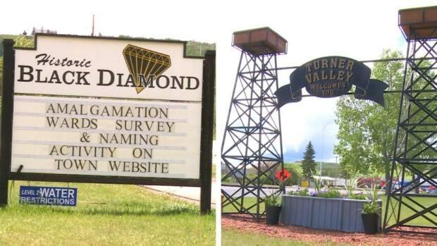 The Alberta towns of Turner Valley and Black Diamond are just three kilometres apart — so they're considering amalgamation to pool their resources. But what to call the new combined community? (Helen Pike/CBC - image credit)