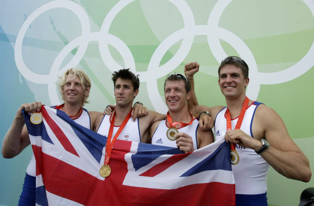 Pete Reed (R) started his streak of three straight gold-winning efforts in Beijing 2008. (AP Photo/Gregory Bull)