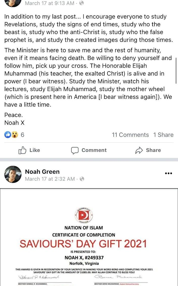 Noah Green had talked about his support for the black nationalist group Nation of Islam on his social media accounts