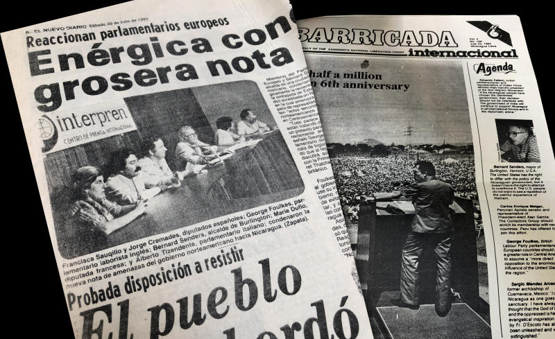 Nicaraguan newspapers featuring then Mayor Bernie Sanders. (Photo illustration: Yahoo News; clips via the University of Vermont Libraries)