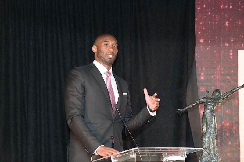Kobe Bryant speaks onstage at the ICON MANN's 6th Annual Pre-Oscar Dinner at the Beverly Wilshire Four Seasons Hotel on February 27, 2018. [Photo: Getty]