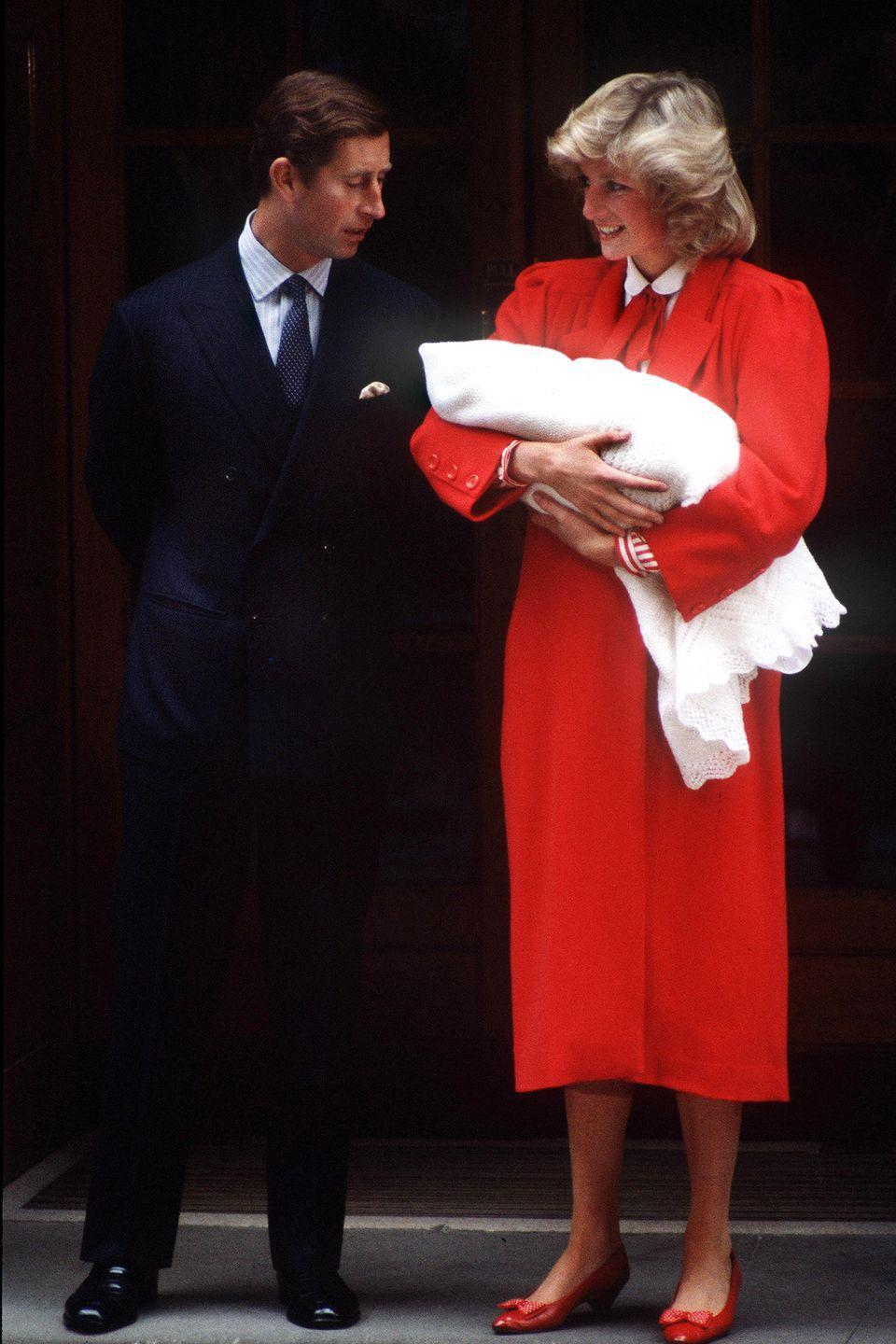 <p>Princess Diana and Prince Charles leave St Mary's Hospital in London with their newborn son, Prince Harry. </p>