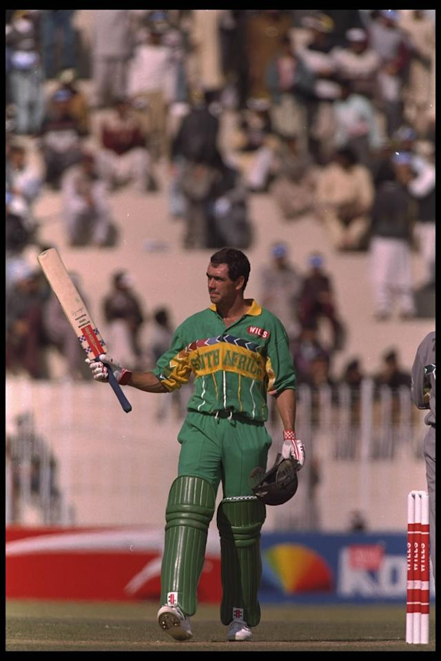 15 Feb 1996:  Hansie Cronje of South Africa gets a fifty and acknowledges the crowd in the game against the United Arab Emirates during the cricket world cup match in Rawalpindi, Pakistan.