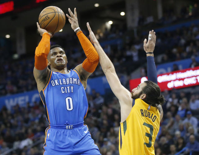 Thunder point guard Russell Westbrook's record-breaking streak of triple-doubles ended at 11 games. (AP Photo/Sue Ogrocki)