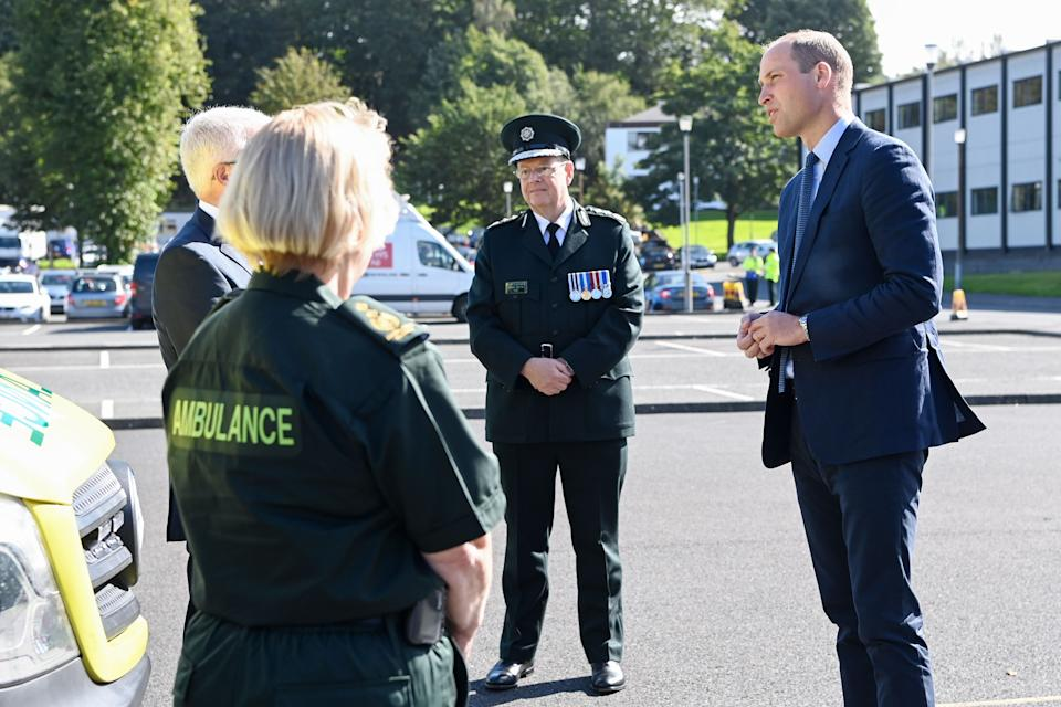 BELFAST, NORTHERN IRELAND - SEPTEMBER: Prince William, Duke of Cambridge meets with Chiefs of the PSNI, Fire Service and Ambulance Service, as he attends a PSNI Wellbeing Volunteer Training course to talk about mental health support within the emergency services at PSNI Garnerville on September 09, 2020 in Belfast, Northern Ireland. (Photo by Tim Rooke - WPA -Pool/Getty Images)