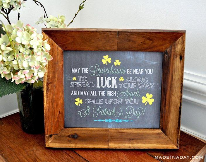 """<p>Combine a free printable with a St. Paddy's Day blessing and sure and """"begorrah,"""" you've got nifty decor the whole family will love.</p><p><strong>Get the printable at <a href=""""https://madeinaday.com/irish-blessing-chalk-art-free-printables/"""" rel=""""nofollow noopener"""" target=""""_blank"""" data-ylk=""""slk:Made in a Day"""" class=""""link rapid-noclick-resp"""">Made in a Day</a>.</strong></p><p><strong><a class=""""link rapid-noclick-resp"""" href=""""https://go.redirectingat.com?id=74968X1596630&url=https%3A%2F%2Fwww.walmart.com%2Fsearch%2F%3Fquery%3Dcard%2Bstock&sref=https%3A%2F%2Fwww.thepioneerwoman.com%2Fhome-lifestyle%2Fcrafts-diy%2Fg34931626%2Fst-patricks-day-decorations%2F"""" rel=""""nofollow noopener"""" target=""""_blank"""" data-ylk=""""slk:SHOP CARD STOCK"""">SHOP CARD STOCK</a><br></strong></p>"""