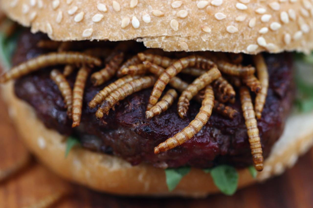 LONDON, ENGLAND - AUGUST 15: A pigeon burger with BBQ Meal Worms is prepared for a customer on a 'Pop Up' stand at One New Change on August 15, 2013 in London, England. The pest control specialist, Rentokill are celebrating their 85th anniversary, and for one day only were giving passers by the chance to try sweet chilli pigeon burgers, salted weaver ants, BBQ Mole Crickets and chocolate dipped worms amongst other things on their stand. (Photo by Dan Kitwood/Getty Images)