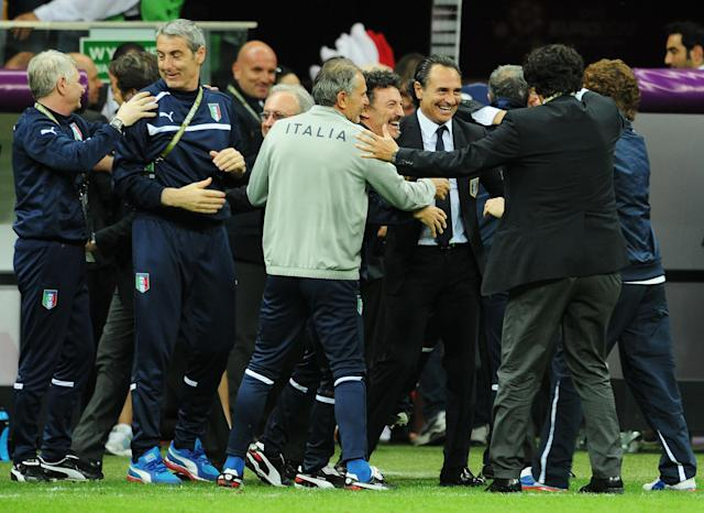 WARSAW, POLAND - JUNE 28: Head Coach Cesare Prandelli of Italy celebrates with his coaching staff during the UEFA EURO 2012 semi final match between Germany and Italy at National Stadium on June 28, 2012 in Warsaw, Poland. (Photo by Christopher Lee/Getty Images)