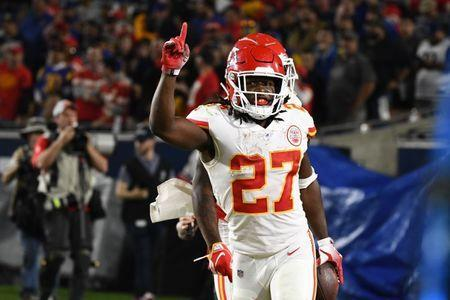 FILE PHOTO: Nov 19, 2018; Los Angeles, CA: Kansas City Chiefs running back Kareem Hunt (27) celebrates scoring in the second quarter against the Los Angeles Rams at the Los Angeles Memorial Coliseum. Mandatory Credit: Robert Hanashiro-USA TODAY Sports