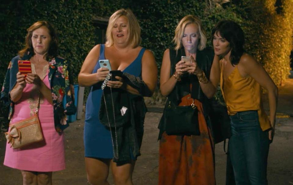Molly Shannon, Bridget Everett, Toni Collette, and Katie Aselton in <em>Fun Mom Dinner</em> (Photo: Momentum Pictures)