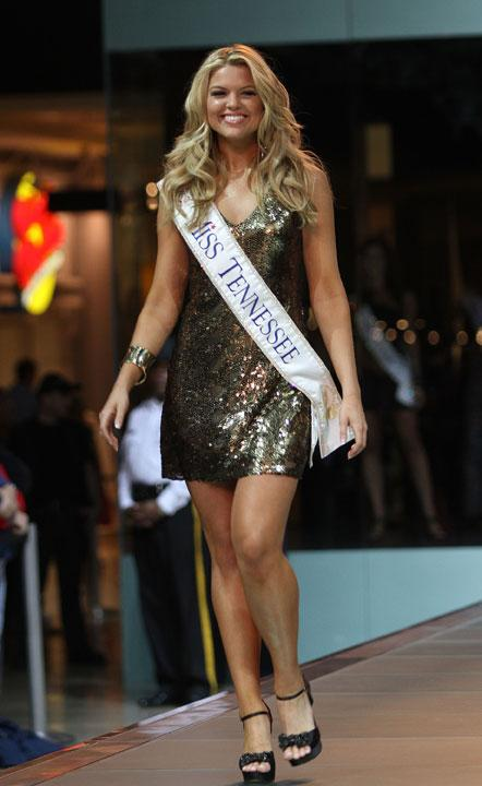 LAS VEGAS, NV - JANUARY 07:  2012 Miss America  Pageant contestant Miss Tennessee Erin Hatley walks the runway at the Fashion Show Mall on January 7, 2012 in Las Vegas, Nevada.  (Photo by Marcel Thomas/FilmMagic)