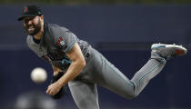 Arizona Diamondbacks starting pitcher Robbie Ray works against a San Diego Padres batter during the first inning of a baseball game Friday, Aug. 17, 2018, in San Diego. (AP Photo/Gregory Bull)