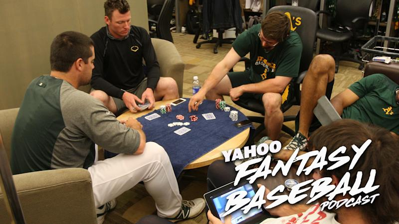 Members of the Oakland A's play poker. Scott Pianowski and Sammy Reid discuss how fantasy owners can use poker strategy to their advantage on the latest Yahoo Fantasy Baseball Podcast. (Photo by Michael Zagaris/Oakland Athletics/Getty Images)
