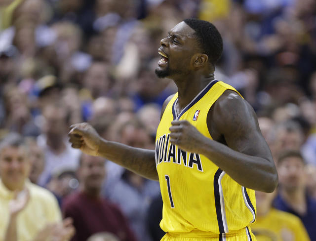 Indiana Pacers guard Lance Stephenson celebrates late in the second half of an NBA basketball game against the Oklahoma City Thunder in Indianapolis, Sunday, April 13, 2014. The Pacers defeated the Thunder 102-97. (AP Photo/Michael Conroy)