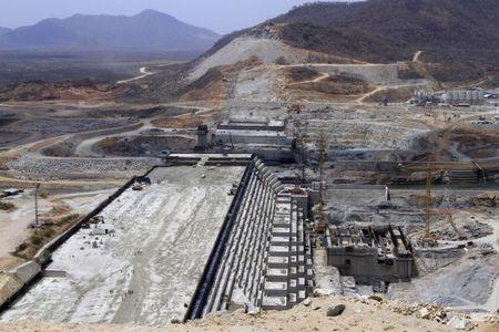 A general view of Ethiopia's Grand Renaissance Dam, as it undergoes construction, is seen during a media tour along the river Nile in Benishangul Gumuz Region, Guba Woreda, in Ethiopia