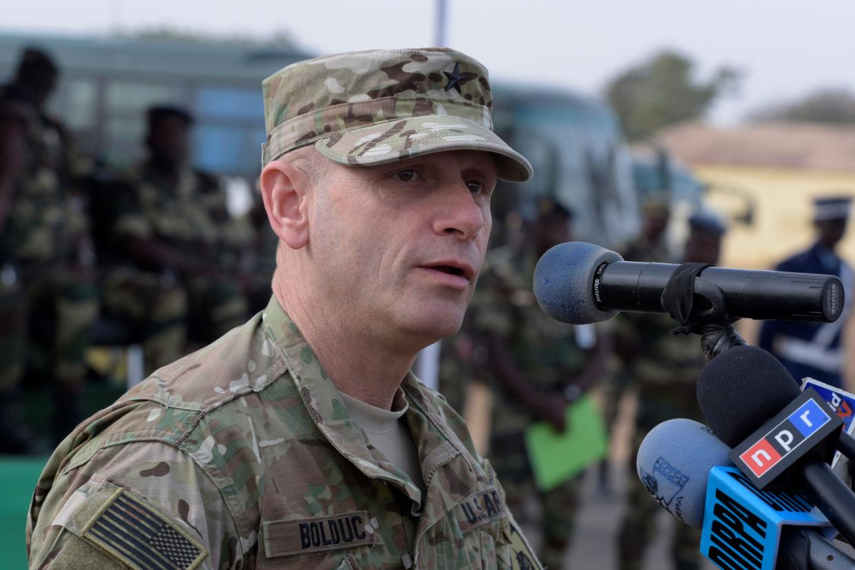 US Brigadier General Donald C. Bolduc, who served as the Deputy Director for Operations, United States Africa Command, speaks on February 8, 2016 during a inauguration of the Thies airbase, about 70 km northeast of Dakar on the second day of a three-week joint military exercise between African, US and European troops, known as Flintlock. (Photo: Seyllou/AFP/Getty Images)