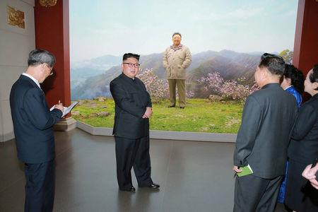 Kim Jong Un gives field guidance to the remodeled Korean Revolution Museum in this undated photo released March 28, 2017. KCNA/via REUTERS