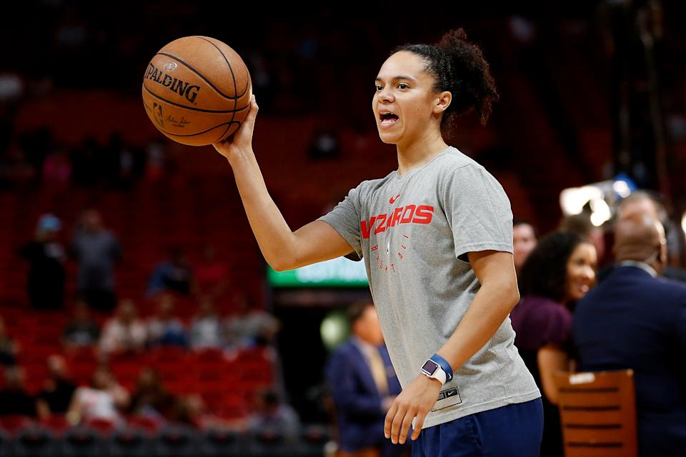 MIAMI, FL - JANUARY 04:  Assistant coach Kristi Toliver of the Washington Wizards prior to the game against the Miami Heat at American Airlines Arena on January 4, 2019 in Miami, Florida. NOTE TO USER: User expressly acknowledges and agrees that, by downloading and or using this photograph, User is consenting to the terms and conditions of the Getty Images License Agreement.  (Photo by Michael Reaves/Getty Images)