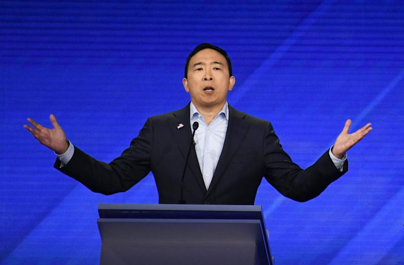 Democratic presidential hopeful Tech entrepreneur Andrew Yang speaks during the third Democratic primary debate of the 2020 presidential campaign season at Texas Southern University in Houston, Texas on September 12, 2019. | Robyn Beck—AFP/Getty Images