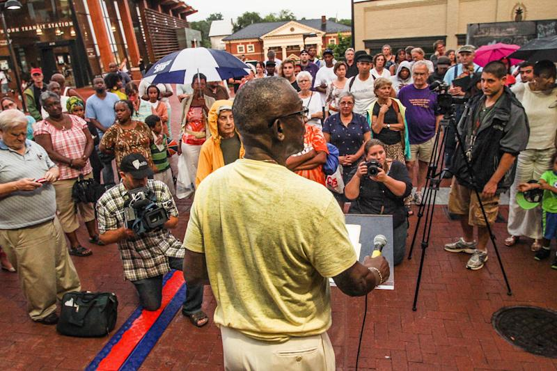 Dr. Rick Turner, former president of the Albemarle-Charlottesville chapter of the NAACP, addresses the crowd at a rally in remembrance of Trayvon Martin in July 2013. (C-VILLE Weekly/Annalee Grant)