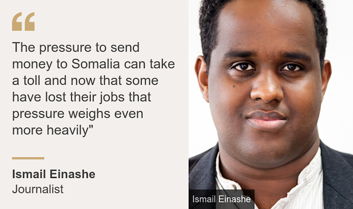 """""""The pressure to send money to Somalia can take a toll and now that some have lost their jobs that pressure weighs even more heavily"""""""", Source: Ismail Einashe, Source description: Journalist, Image: Ismail Einashe"""