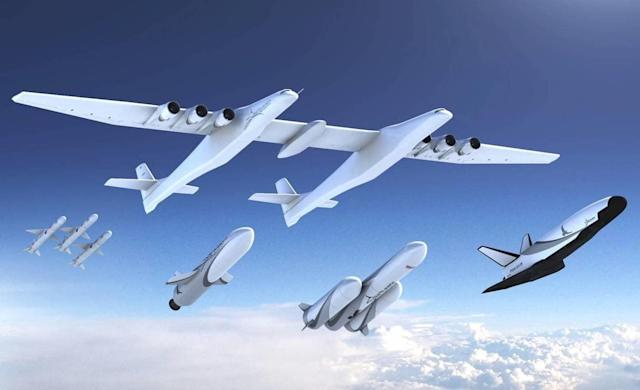 Stratolaunch, the commercial space company led by Microsoft co-founder Paul Allen, has unveiled a set of rocket-powered launch vehicles that will one day travel with the world's largest airplane to send satellites into space.