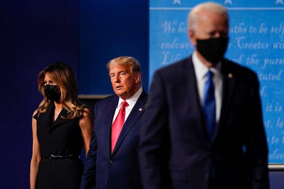 Joe Biden and Donald Trump on stage at the final presidential debate: AP