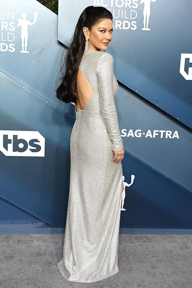 in a high-shine silver Julien x Gabriel gown at the 2020 SAG Awards.