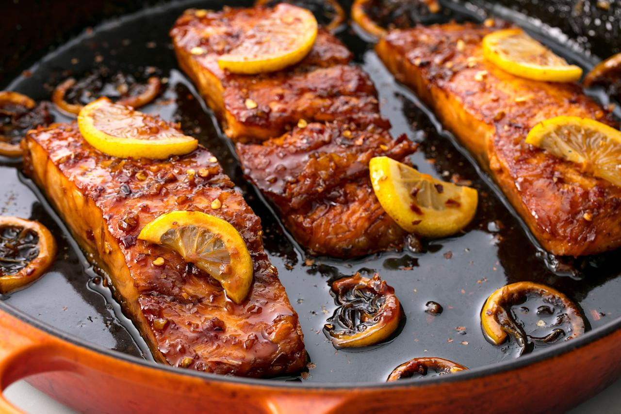 "<p>Make getting your Omega-3s as delicious as possible with these delicious baked, pan-fried, seared, and poached salmon recipes. We've rounded up more than 40 of our favorite healthy salmon recipes so you can try something new every night of the week. Looking for more salmon ideas? Try our <a href=""/cooking/recipe-ideas/g3359/grilled-salmon/"" target=""_blank"">grilled salmon recipes</a>! Plus, whip up one of these <a href=""http://www.delish.com/cooking/g4476/side-dishes-for-salmon/"">delicious sides that taste great with salmon</a>.</p>"