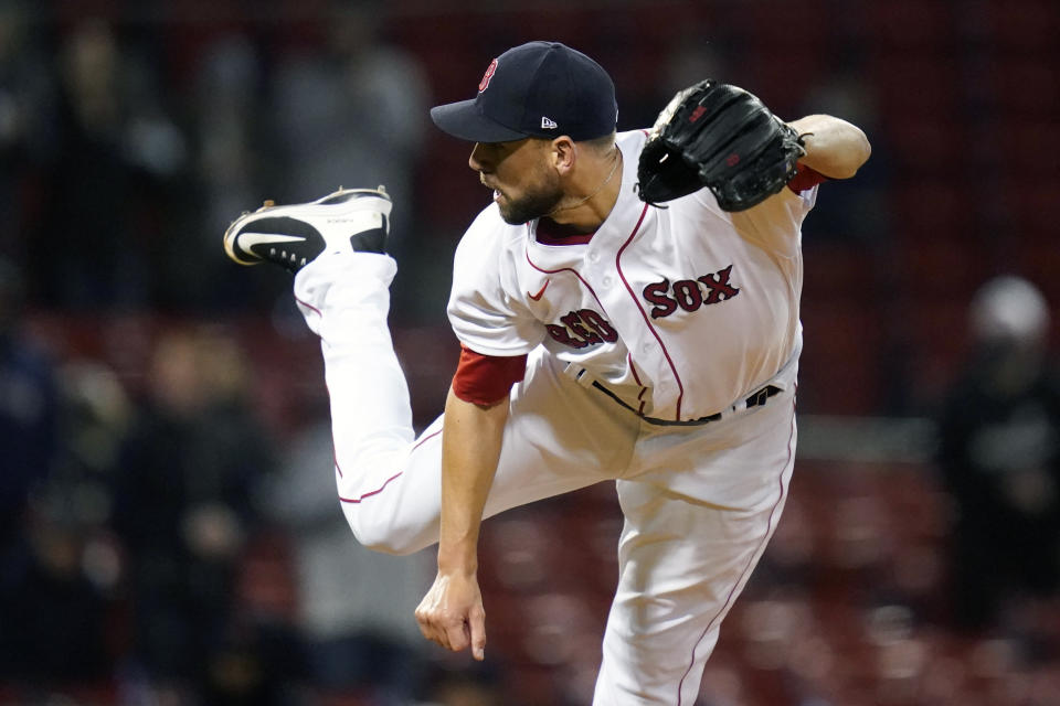 Boston Red Sox relief pitcher Matt Barnes delivers during the ninth inning of a baseball game against the Detroit Tigers at Fenway Park, Tuesday, May 4, 2021, in Boston. Barnes earned a save in the Red Sox 11-7 win. (AP Photo/Charles Krupa)