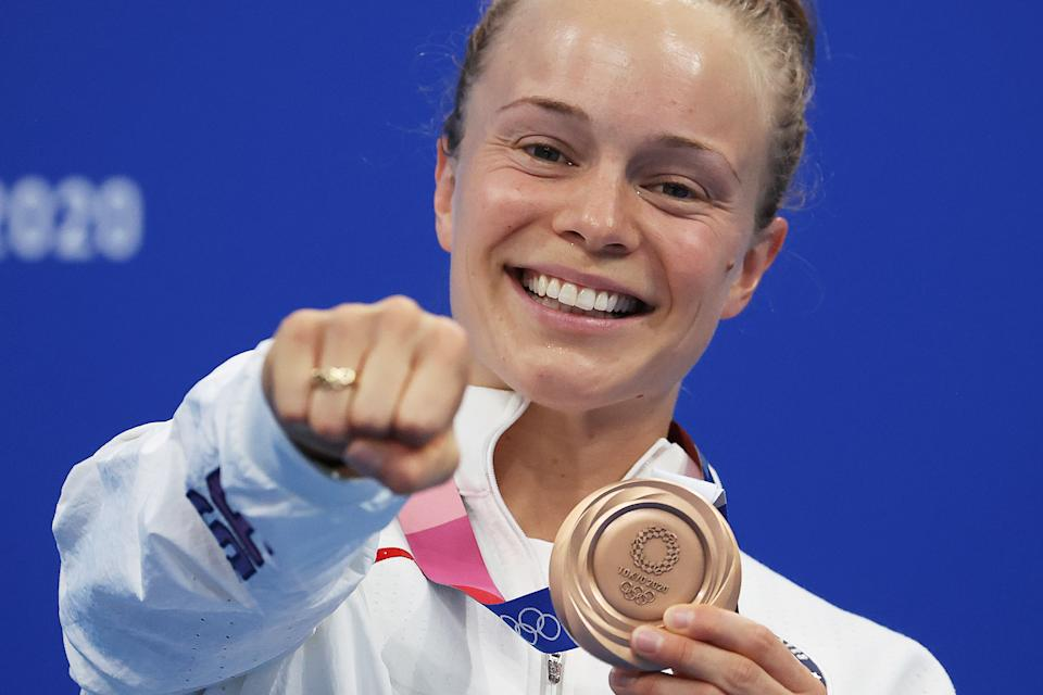 TOKYO, JAPAN - AUGUST 01: Krysta Palmer of Team United States poses with the bronze medal for Women's 3m Springboardon day nine of the Tokyo 2020 Olympic Games at Tokyo Aquatics Centre on August 01, 2021 in Tokyo, Japan. (Photo by Al Bello/Getty Images)