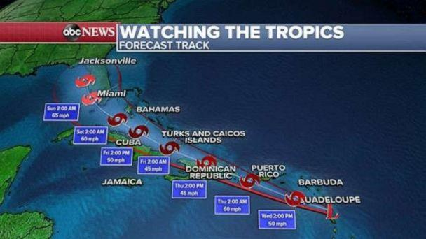 PHOTO: As of early Wednesday morning, the developing tropical system was located about five miles south of Dominica and 385 miles ESE of San Juan, Puerto Rico.   (ABC News)