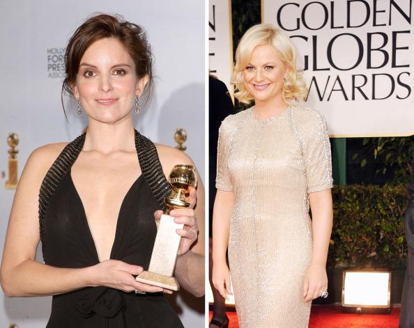 """(FILE PHOTO) In this composite image a comparison has been made between actresses Tina Fey (L) and Amy Poehler. The former cast-mates of TV's """"Saturday Night Live"""" will co-host the 70th Annual Golden Globe Awards in January of 2013. ***LEFT IMAGE*** BEVERLY HILLS, CA - JANUARY 11: Actress Tina Fey poses with her Best Performance by an Actress In A Television Series - Musical Or Comedy award for """"30 Rock"""" in the press room at the 66th Annual Golden Globe Awards held at the Beverly Hilton Hotel on January 11, 2009 in Beverly Hills, California. (Photo by Jason Merritt/Getty Images) ***RIGHT IMAGE*** BEVERLY HILLS, CA - JANUARY 15: Actress Amy Poehler arrives at the 69th Annual Golden Globe Awards held at the Beverly Hilton Hotel on January 15, 2012 in Beverly Hills, California. (Photo by Frazer Harrison/Getty Images)"""