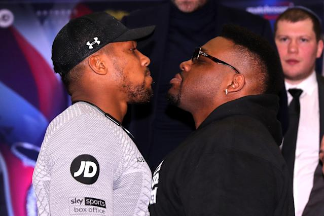 Anthony Joshua and Jarrell Miller square up at a press conference back in February (Photo by Richard Heathcote/Getty Images)