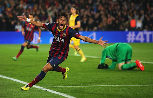 BARCELONA, SPAIN - APRIL 01: Neymar of Barcelona celebrates his goal during the UEFA Champions League Quarter Final first leg match between FC Barcelona and Club Atletico de Madrid at Camp Nou on April 1, 2014 in Barcelona, Spain. (Photo by Clive Rose/Getty Images)