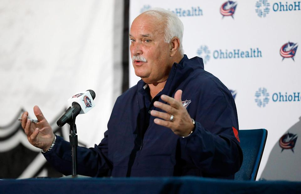 Blue Jackets President of Hockey Operations John Davidson speaks to the media during Media Day at Nationwide Arena in Columbus, Ohio on September 21, 2021.