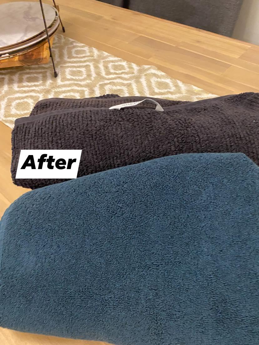 Kmart budget towel compared to $60 version