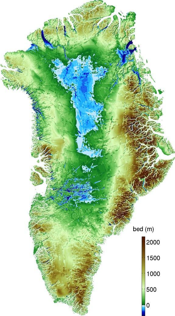Topography of Greenland (blue is below sea level).