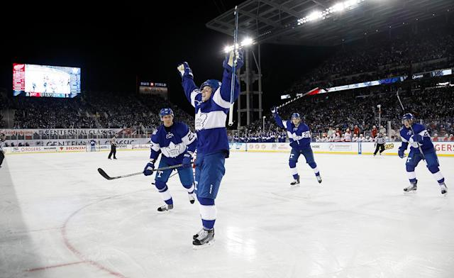 <p>The Leafs' Mitch Marner celebrates his goal. (Getty) </p>