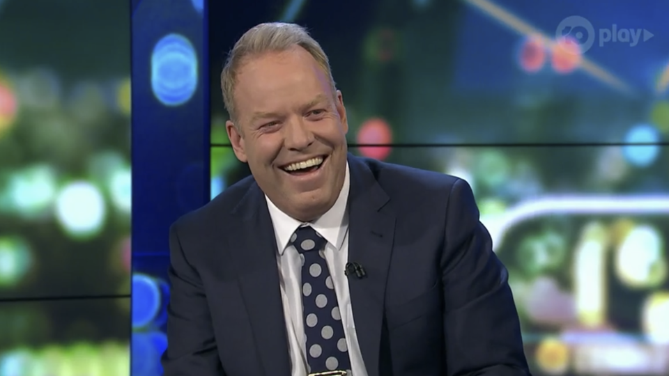 Peter Helliar laughing on The Project