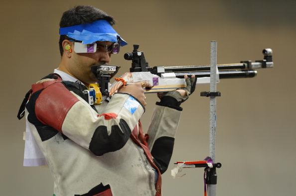 LONDON, ENGLAND - JULY 30:  Bronze medallist Gagan Narang of India competes in the Men's 10m Air Rifle Shooting final on Day 3 of the London 2012 Olympic Games at The Royal Artillery Barracks on July 30, 2012 in London, England.  (Photo by Lars Baron/Getty Images)