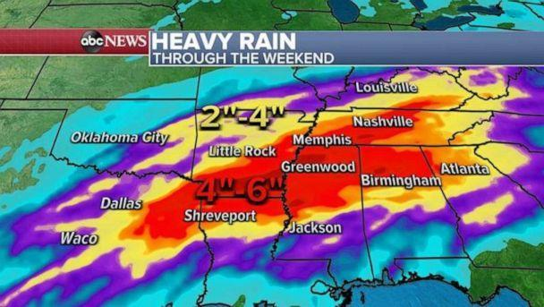 PHOTO: Over the next several days, storms will continue to move through the South over the same areas, increasing chances for flooding and locally some areas could see up to a half a foot of rain from eastern Texas into northern Alabama and Tennessee. (ABC News)