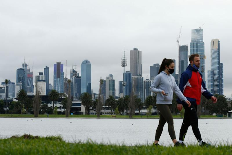 People enjoy their one hour of exercise allowed under stage 4 restrictions at Albert Park.
