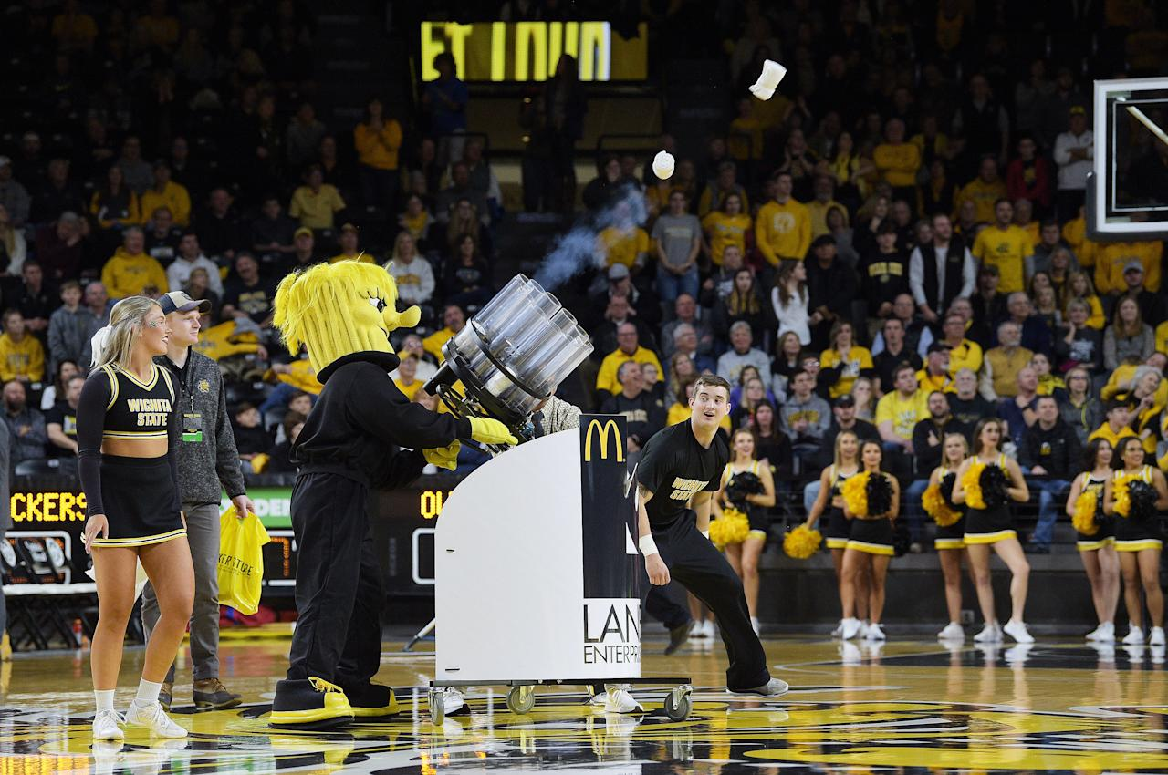 Wichita State University's mascot is described by the website as 'a big, bad, muscle-bound bundle of wheat'. How very intimidating.