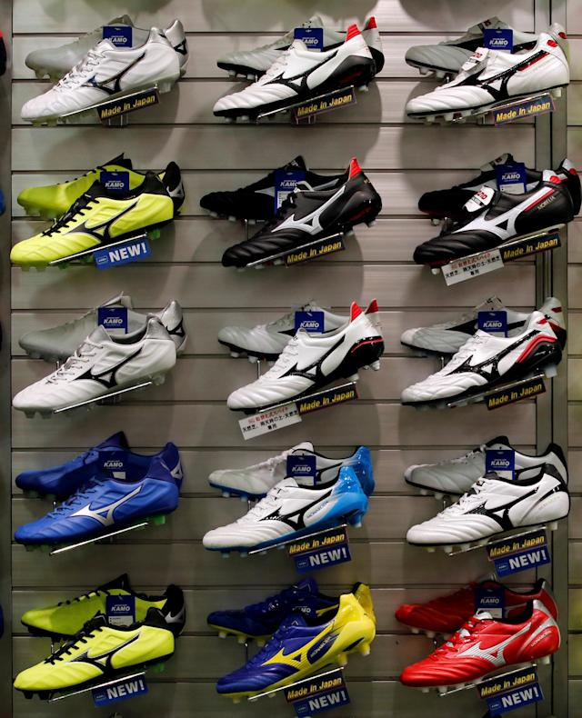 REFILE - CORRECTING BRAND Mizuno soccer shoes are displayed at soccer shop KAMO in Tokyo, Japan May 17, 2018. REUTERS/Kim Kyung-Hoon