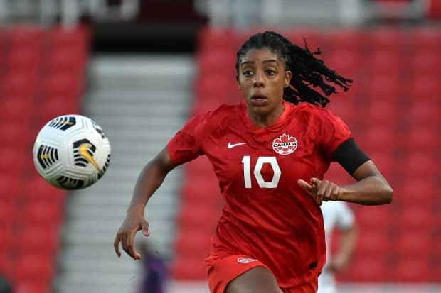 Canada's Ashley Lawrence has proven herself to be a vital part of Canada's Olympic soccer medal hopes. (AP - image credit)