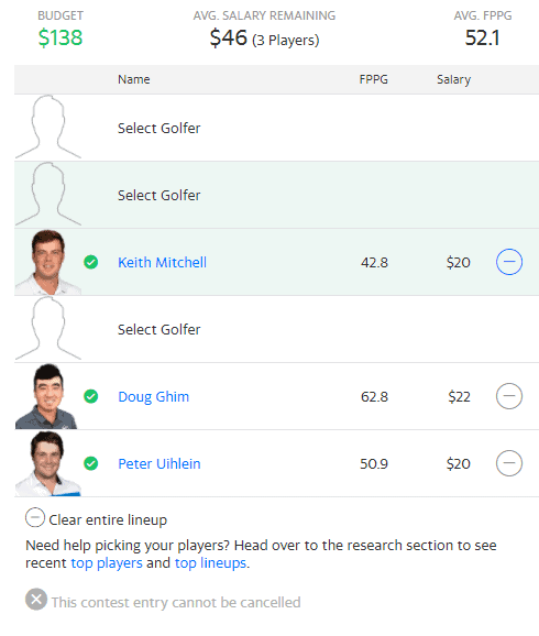 PGA DFS daily fantasy golf picks Yahoo Cup Valspar Championship Justin Thomas salaries ownership projections