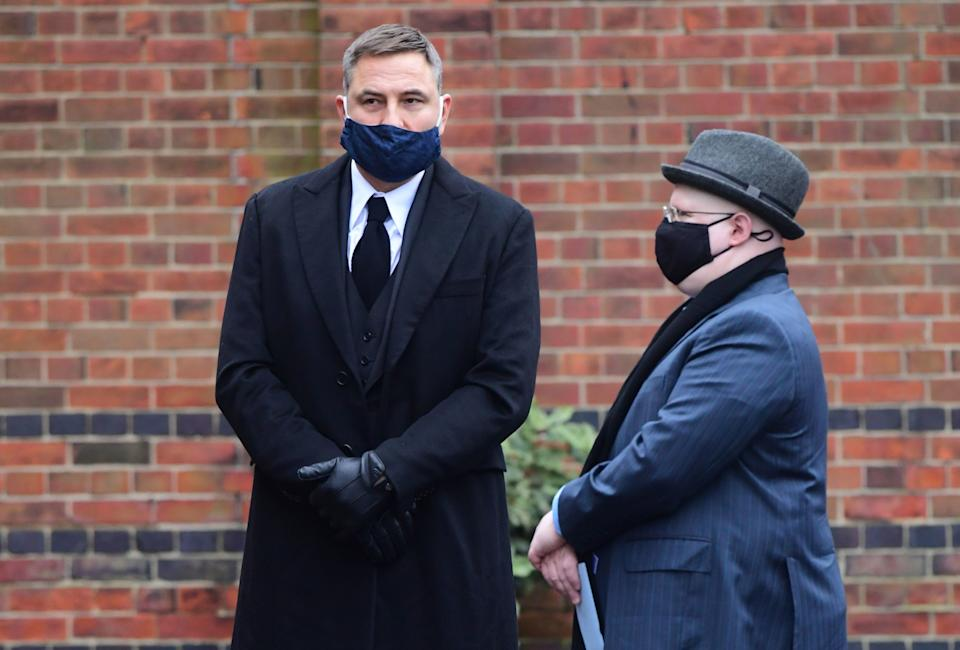 David Walliams and Matt Lucas arriving at Golders Green Crematorium for the private service PA
